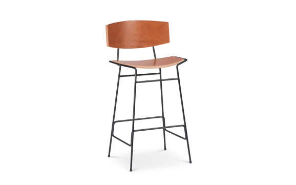 Troscan Kava Stacked Leather Bar / Counter Stool